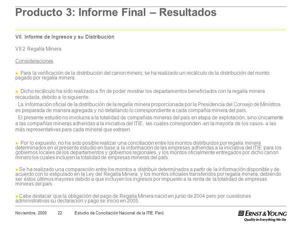 22Noviembre, 2009Estudio de Conciliación Nacional de la ITIE Perú Producto 3: Informe Final – Resultados VII. Informe de Ingresos y su Distribución VI