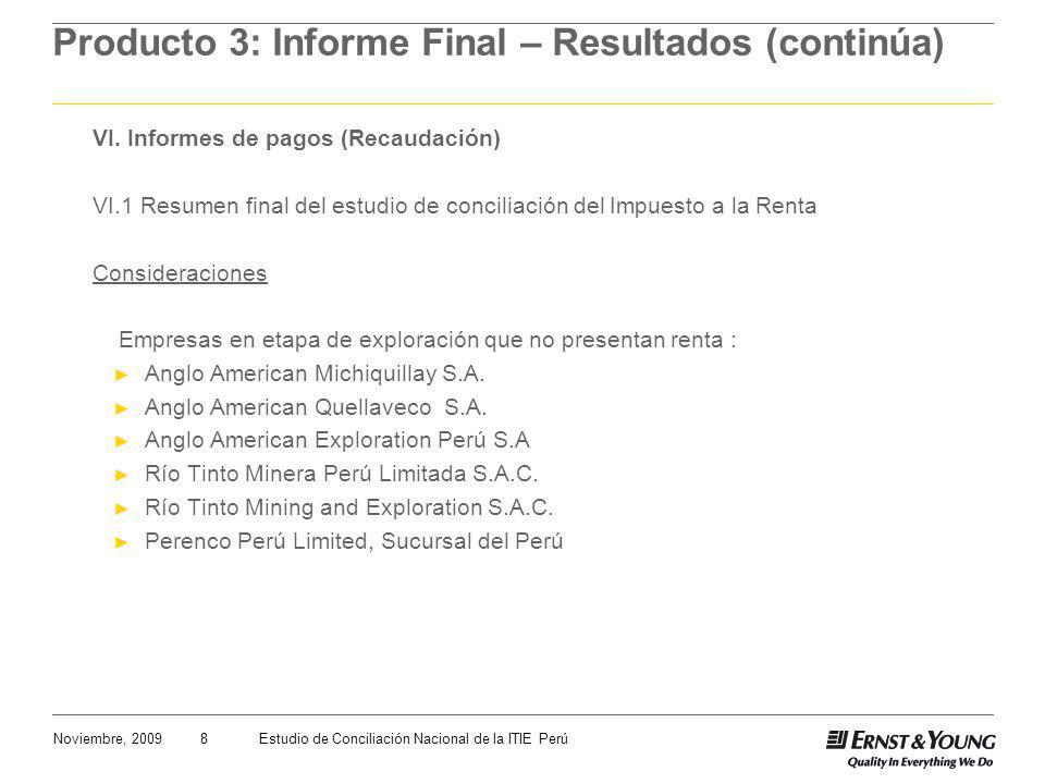 8Noviembre, 2009Estudio de Conciliación Nacional de la ITIE Perú Producto 3: Informe Final – Resultados (continúa) VI. Informes de pagos (Recaudación)