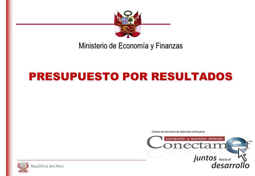 DO NOT REFRESH Ministerio de Economía y Finanzas República del Perú PRESUPUESTO POR RESULTADOS Ministerio de Economía y Finanzas
