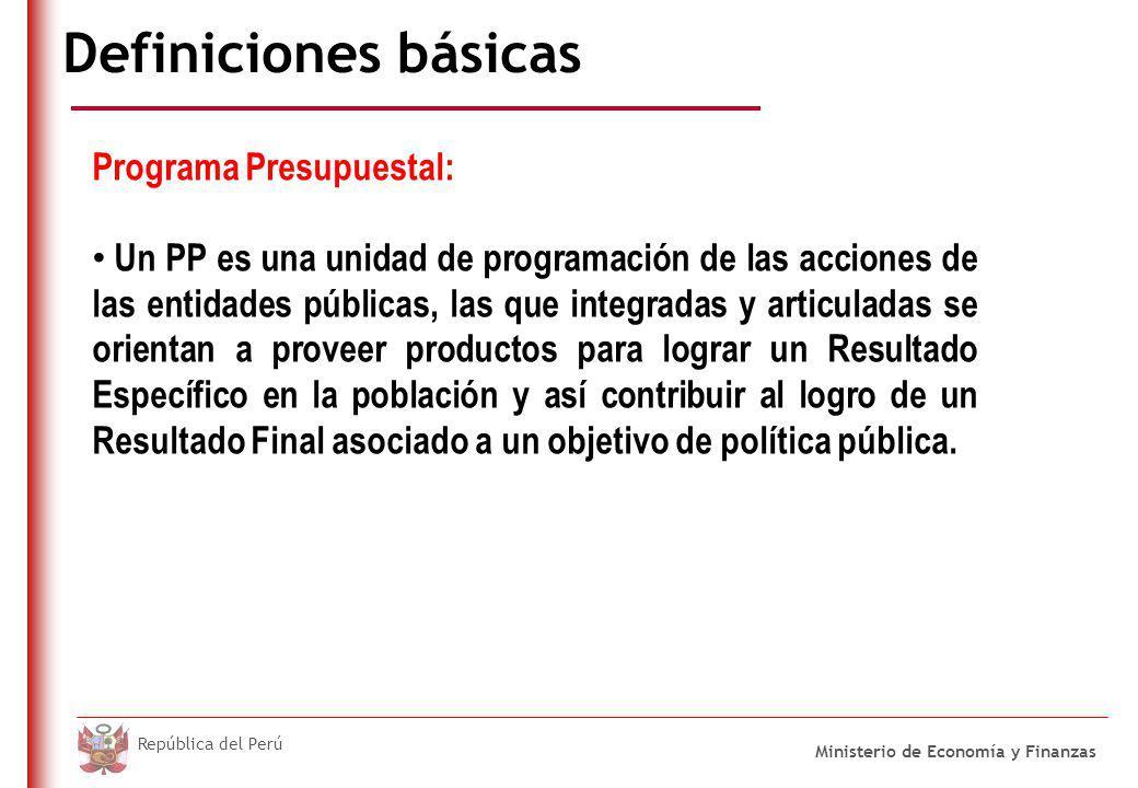 DO NOT REFRESH Ministerio de Economía y Finanzas República del Perú Definiciones básicas Programa Presupuestal: Un PP es una unidad de programación de