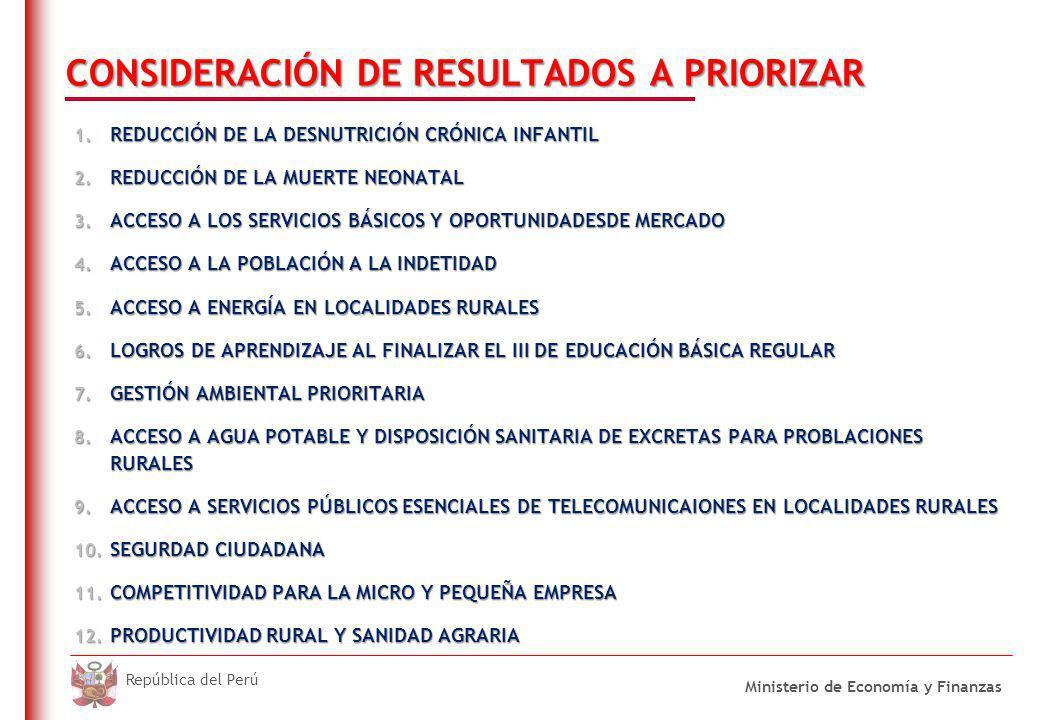 DO NOT REFRESH Ministerio de Economía y Finanzas República del Perú CONSIDERACIÓN DE RESULTADOS A PRIORIZAR 1.
