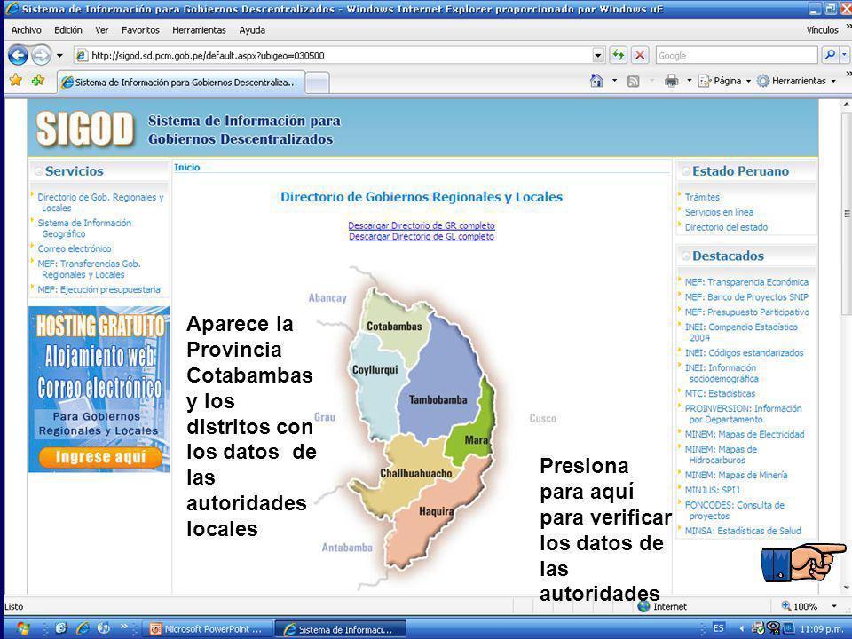 Aparece la Provincia Cotabambas y los distritos con los datos de las autoridades locales Presiona para aquí para verificar los datos de las autoridade