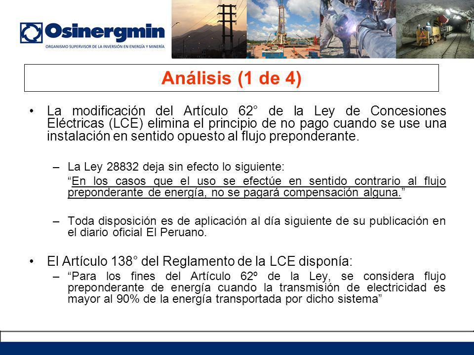 La modificación del Artículo 62° de la Ley de Concesiones Eléctricas (LCE) elimina el principio de no pago cuando se use una instalación en sentido opuesto al flujo preponderante.