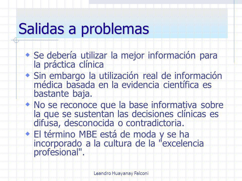 Leandro Huayanay Falconi Salidas a problemas Se debería utilizar la mejor información para la práctica clínica Sin embargo la utilización real de información médica basada en la evidencia científica es bastante baja.