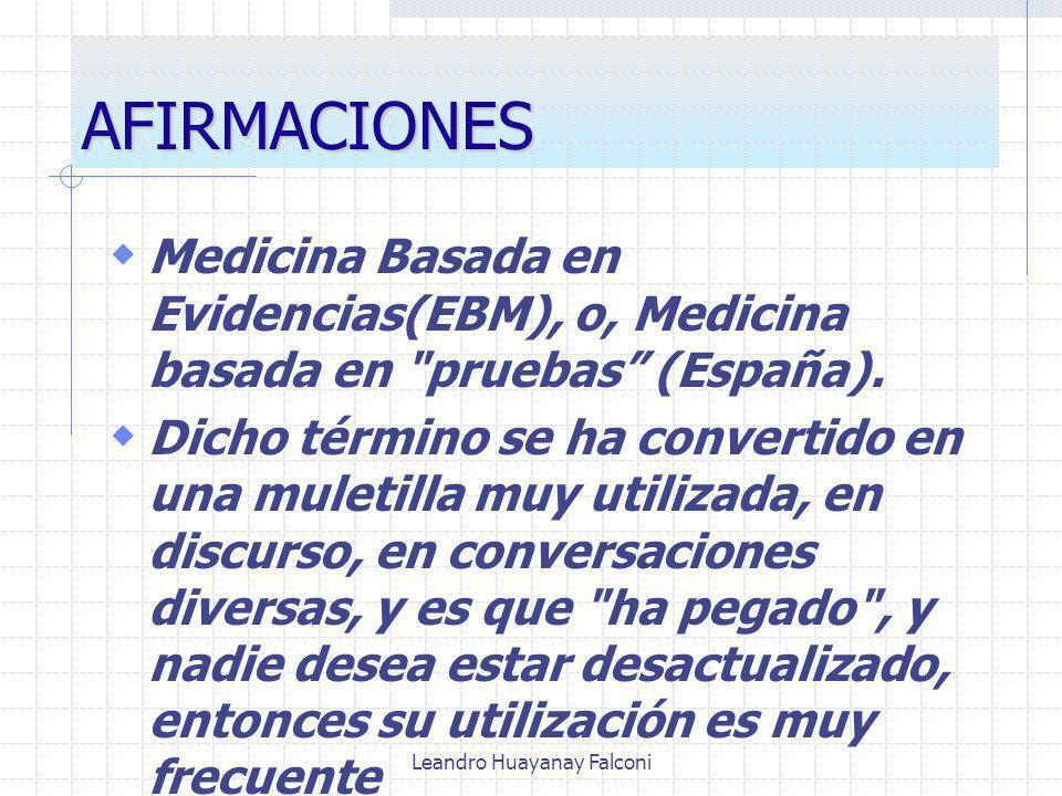 Leandro Huayanay Falconi AFIRMACIONES Medicina Basada en Evidencias(EBM), o, Medicina basada en pruebas (España).