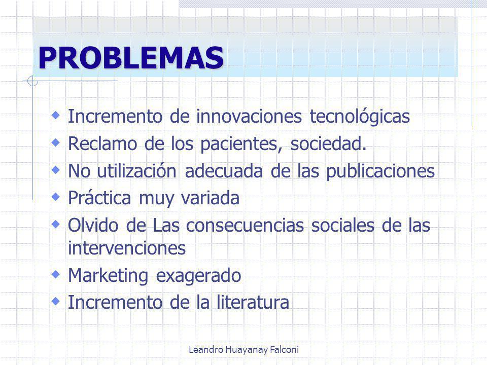 Leandro Huayanay Falconi PROBLEMAS Incremento de innovaciones tecnológicas Reclamo de los pacientes, sociedad.