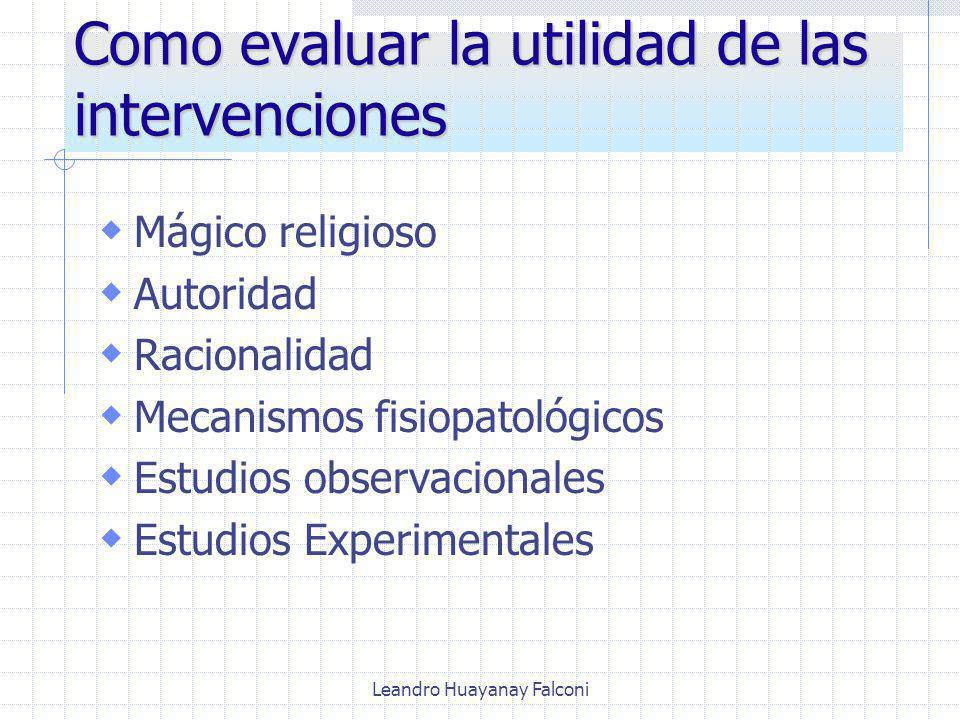 Leandro Huayanay Falconi Como evaluar la utilidad de las intervenciones Mágico religioso Autoridad Racionalidad Mecanismos fisiopatológicos Estudios observacionales Estudios Experimentales