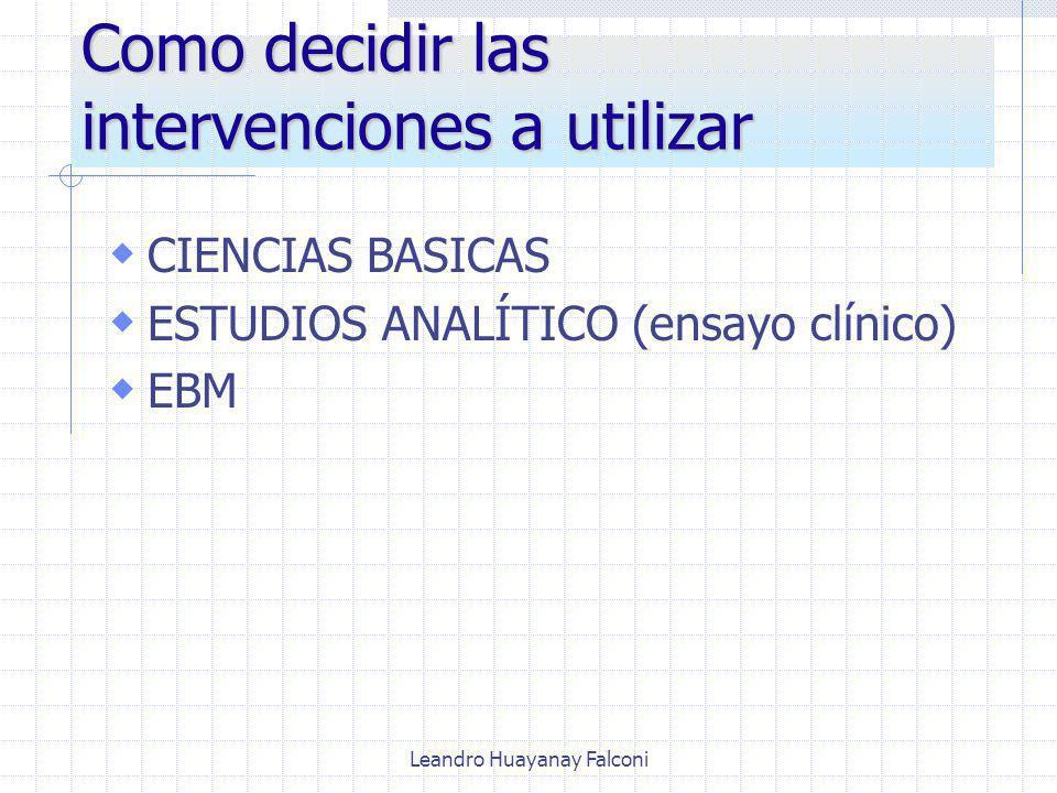Leandro Huayanay Falconi Como decidir las intervenciones a utilizar CIENCIAS BASICAS ESTUDIOS ANALÍTICO (ensayo clínico) EBM