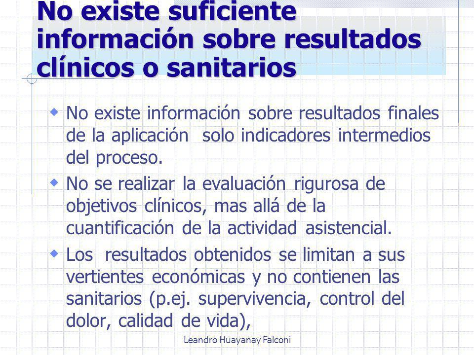 Leandro Huayanay Falconi No existe suficiente información sobre resultados clínicos o sanitarios No existe información sobre resultados finales de la aplicación solo indicadores intermedios del proceso.