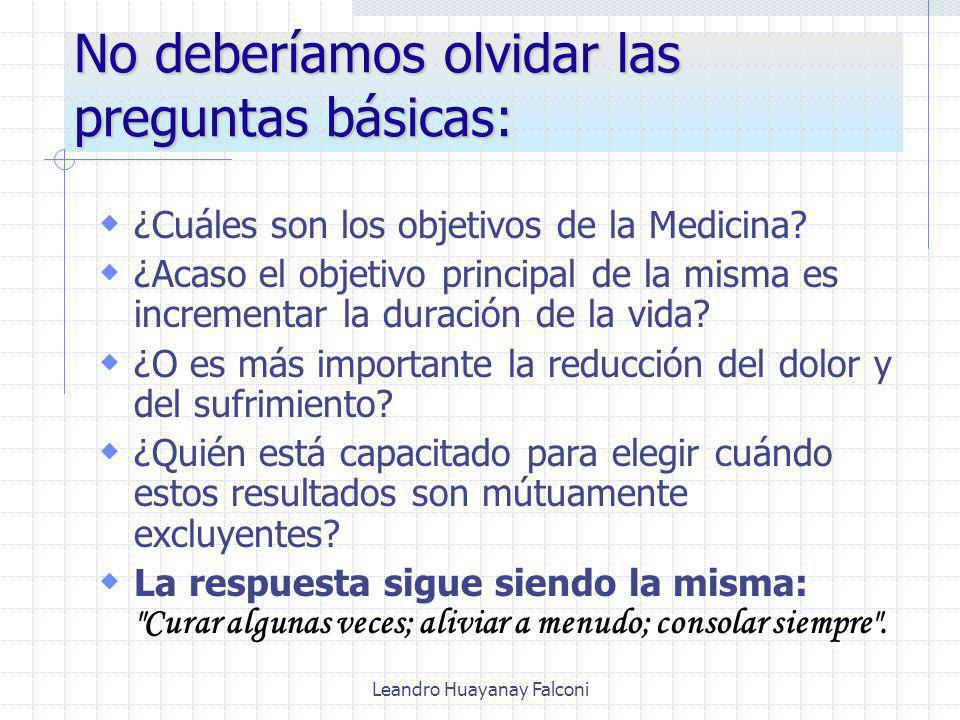 Leandro Huayanay Falconi No deberíamos olvidar las preguntas básicas: ¿Cuáles son los objetivos de la Medicina.