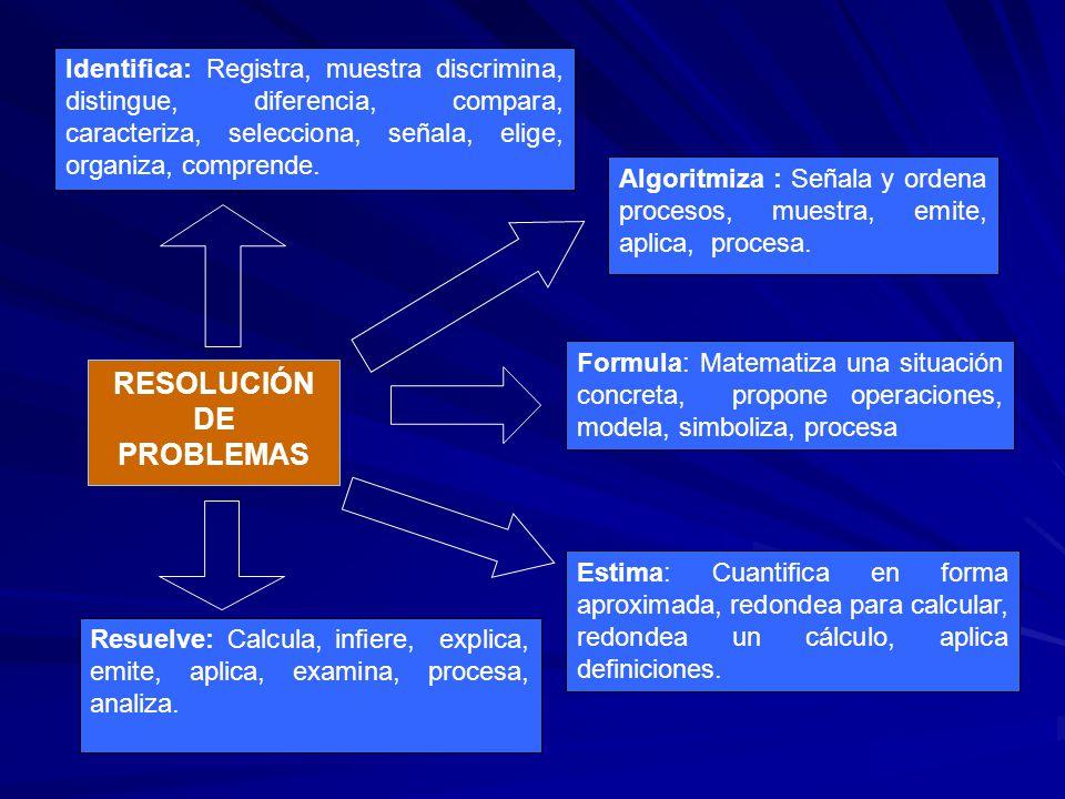 Formula: Matematiza una situación concreta, propone operaciones, modela, simboliza, procesa Algoritmiza : Señala y ordena procesos, muestra, emite, ap