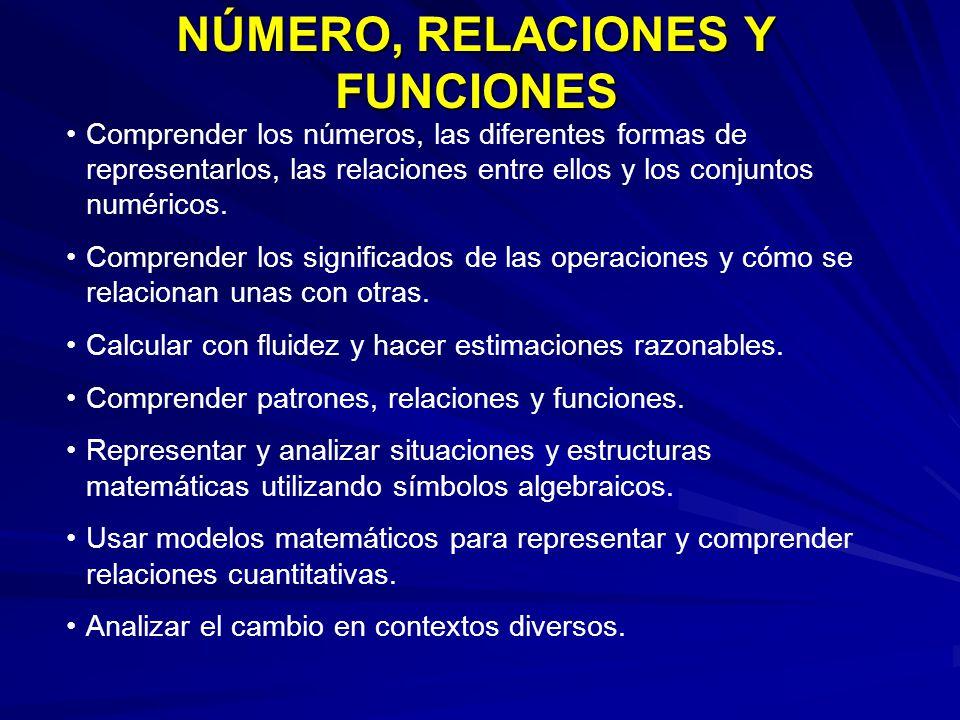 NÚMERO, RELACIONES Y FUNCIONES Comprender los números, las diferentes formas de representarlos, las relaciones entre ellos y los conjuntos numéricos.