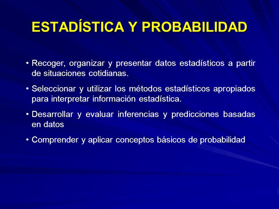 ESTADÍSTICA Y PROBABILIDAD Recoger, organizar y presentar datos estadísticos a partir de situaciones cotidianas. Seleccionar y utilizar los métodos es