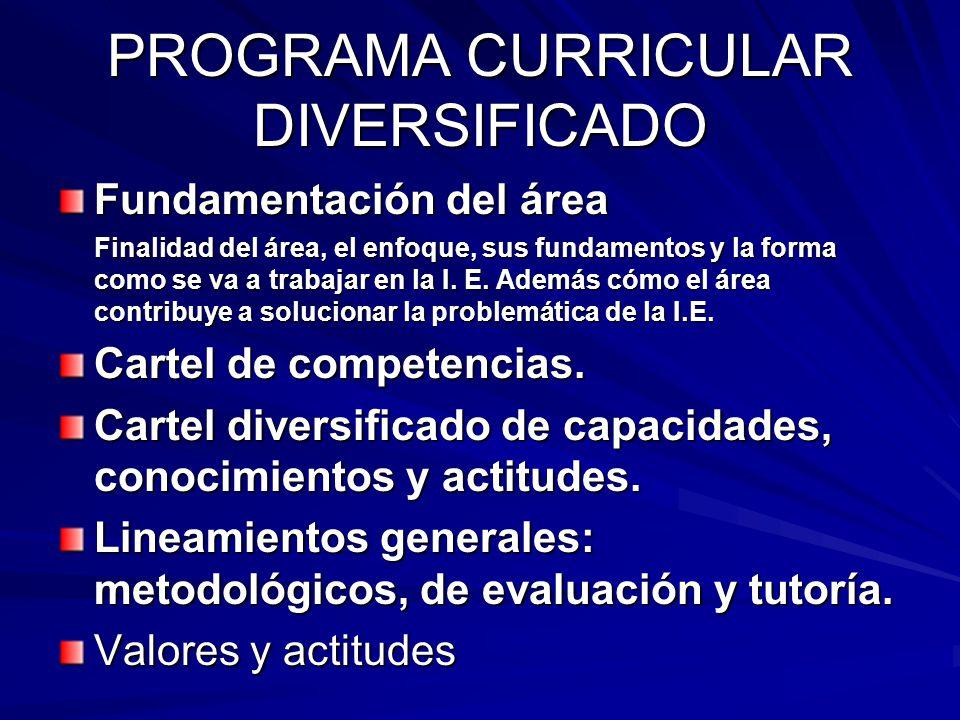 PROGRAMA CURRICULAR DIVERSIFICADO Fundamentación del área Finalidad del área, el enfoque, sus fundamentos y la forma como se va a trabajar en la I. E.