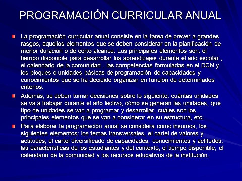 PROGRAMACIÓN CURRICULAR ANUAL La programación curricular anual consiste en la tarea de prever a grandes rasgos, aquellos elementos que se deben consid
