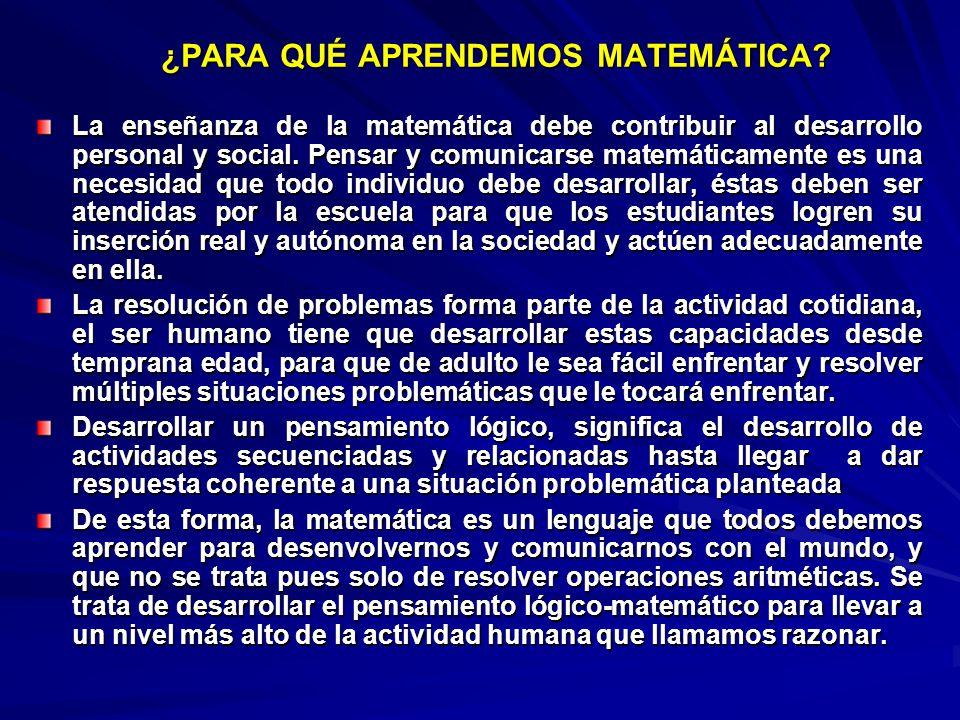 ¿PARA QUÉ APRENDEMOS MATEMÁTICA? La enseñanza de la matemática debe contribuir al desarrollo personal y social. Pensar y comunicarse matemáticamente e