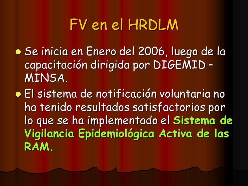 FV en el HRDLM Se inicia en Enero del 2006, luego de la capacitación dirigida por DIGEMID – MINSA. Se inicia en Enero del 2006, luego de la capacitaci