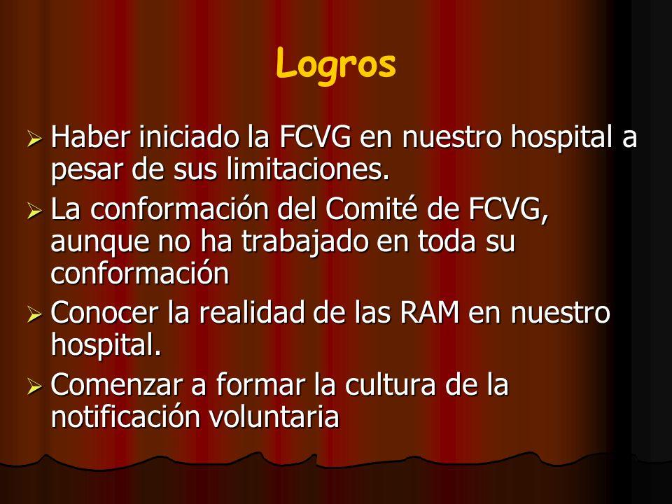 Logros Haber iniciado la FCVG en nuestro hospital a pesar de sus limitaciones. La conformación del Comité de FCVG, aunque no ha trabajado en toda su c