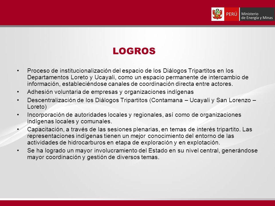 LOGROS Proceso de institucionalización del espacio de los Diálogos Tripartitos en los Departamentos Loreto y Ucayali, como un espacio permanente de intercambio de información, estableciéndose canales de coordinación directa entre actores.