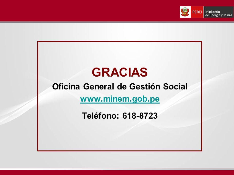 GRACIAS Oficina General de Gestión Social www.minem.gob.pe Teléfono: 618-8723
