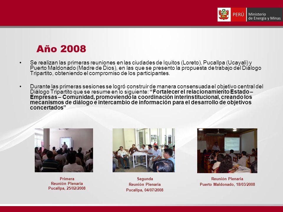 Se realizan las primeras reuniones en las ciudades de Iquitos (Loreto), Pucallpa (Ucayali) y Puerto Maldonado (Madre de Dios), en las que se presento la propuesta de trabajo del Diálogo Tripartito, obteniendo el compromiso de los participantes.