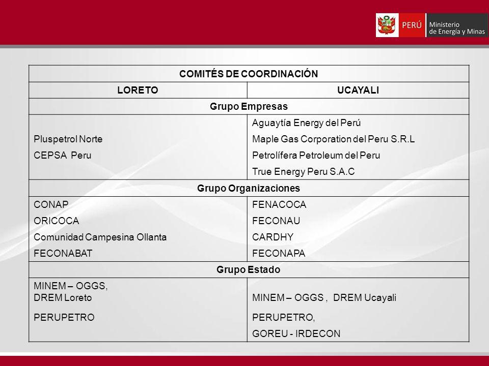 COMITÉS DE COORDINACIÓN LORETOUCAYALI Grupo Empresas Aguaytía Energy del Perú Pluspetrol NorteMaple Gas Corporation del Peru S.R.L CEPSA Peru Petrolífera Petroleum del Peru True Energy Peru S.A.C Grupo Organizaciones CONAPFENACOCA ORICOCAFECONAU Comunidad Campesina OllantaCARDHY FECONABATFECONAPA Grupo Estado MINEM – OGGS, DREM LoretoMINEM – OGGS, DREM Ucayali PERUPETROPERUPETRO, GOREU - IRDECON