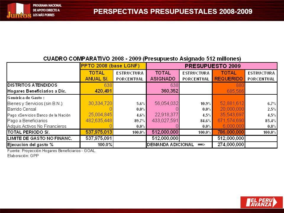 ESCENARIOS DE PROYECCIÓN DE METAS (HOGARES BENEFICIARIOS) A DIC. 2009