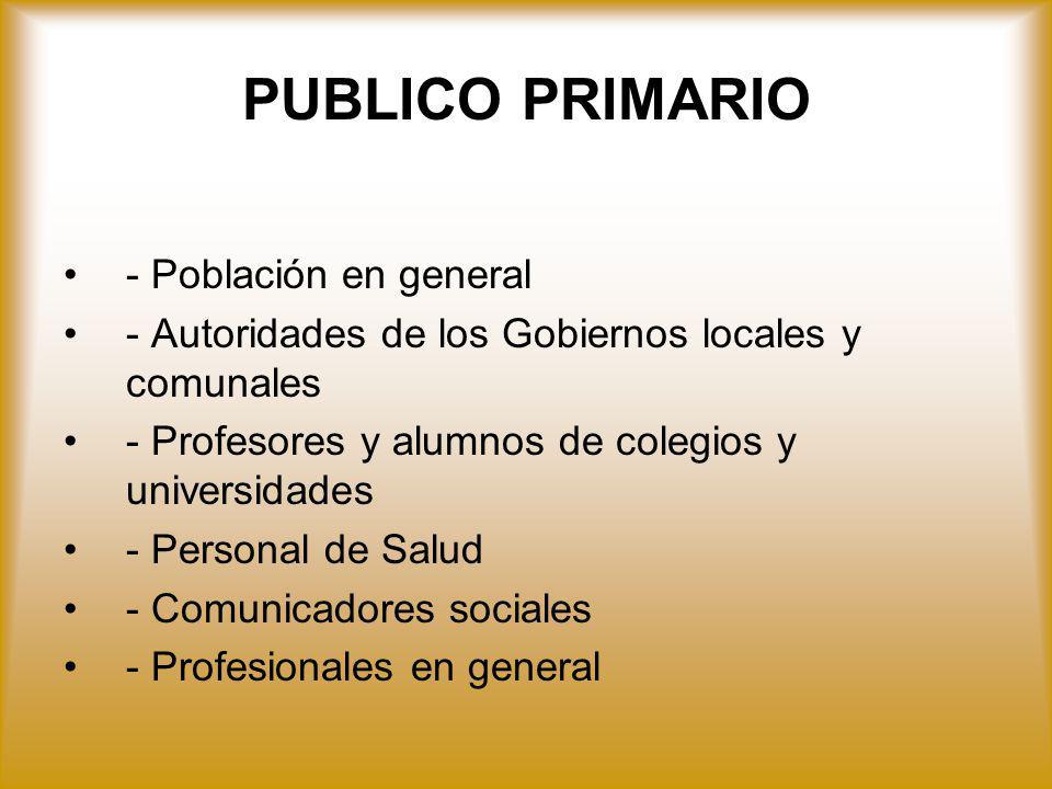 PUBLICO PRIMARIO - Población en general - Autoridades de los Gobiernos locales y comunales - Profesores y alumnos de colegios y universidades - Person