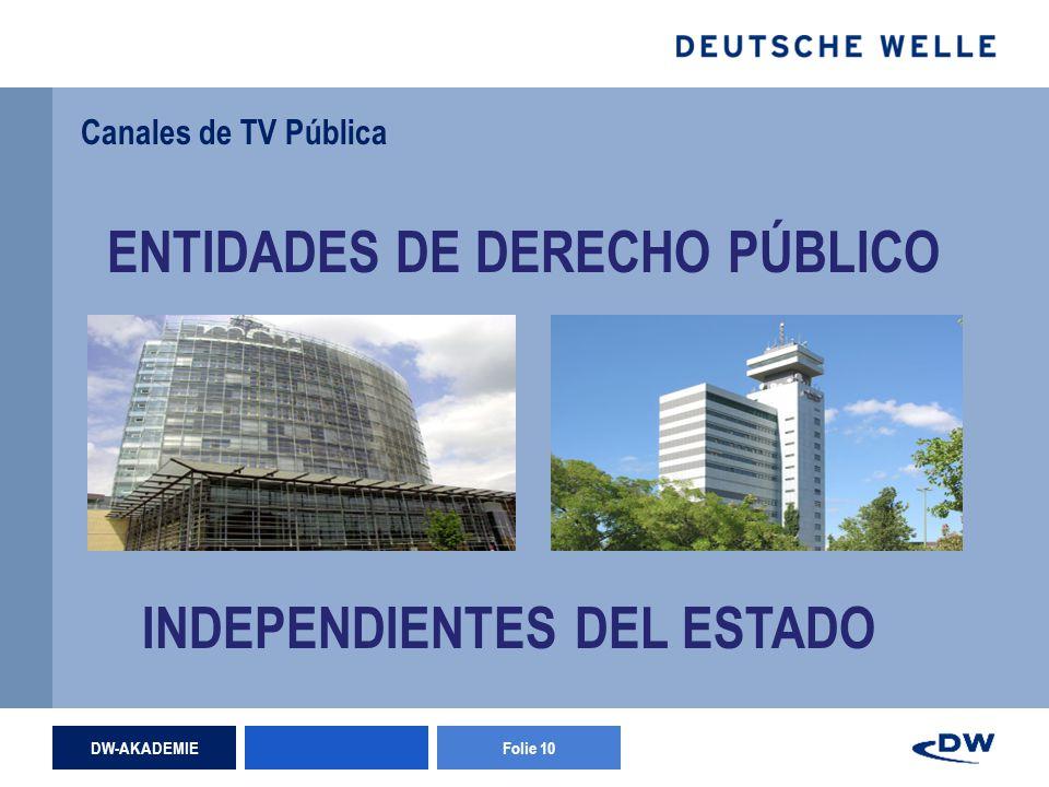 DW-AKADEMIEFolie 10 Canales de TV Pública ENTIDADES DE DERECHO PÚBLICO INDEPENDIENTES DEL ESTADO