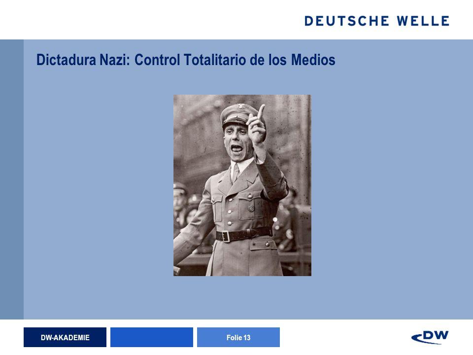 DW-AKADEMIEFolie 13 Dictadura Nazi: Control Totalitario de los Medios
