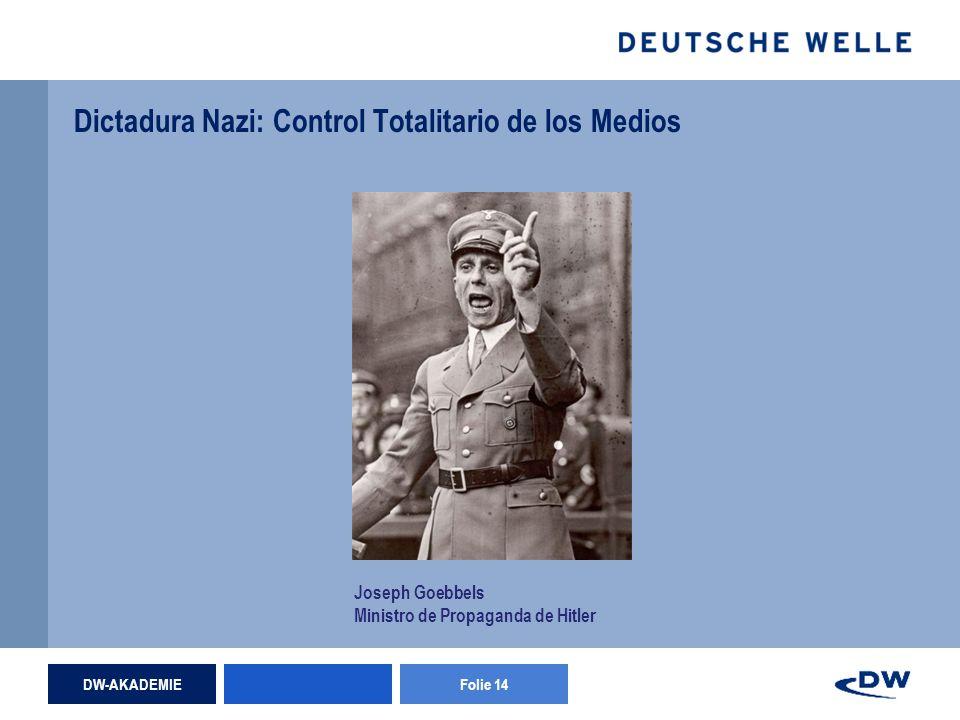 DW-AKADEMIEFolie 14 Dictadura Nazi: Control Totalitario de los Medios Joseph Goebbels Ministro de Propaganda de Hitler
