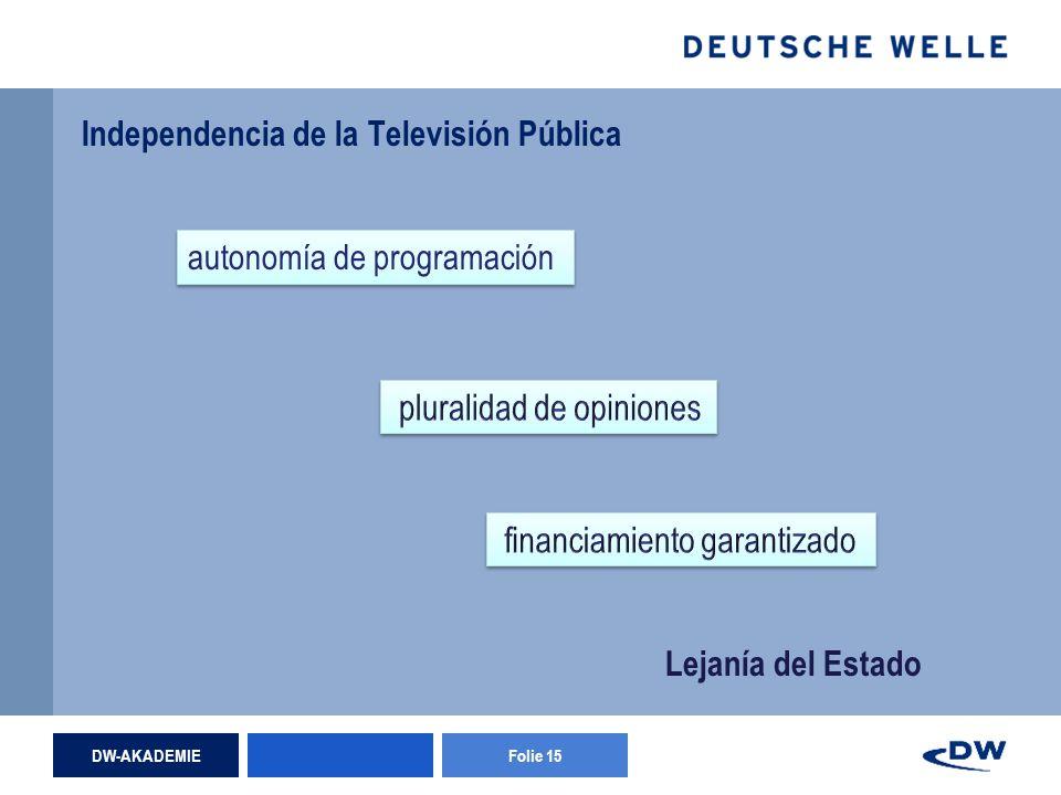 DW-AKADEMIEFolie 15 Independencia de la Televisión Pública autonomía de programación Lejanía del Estado