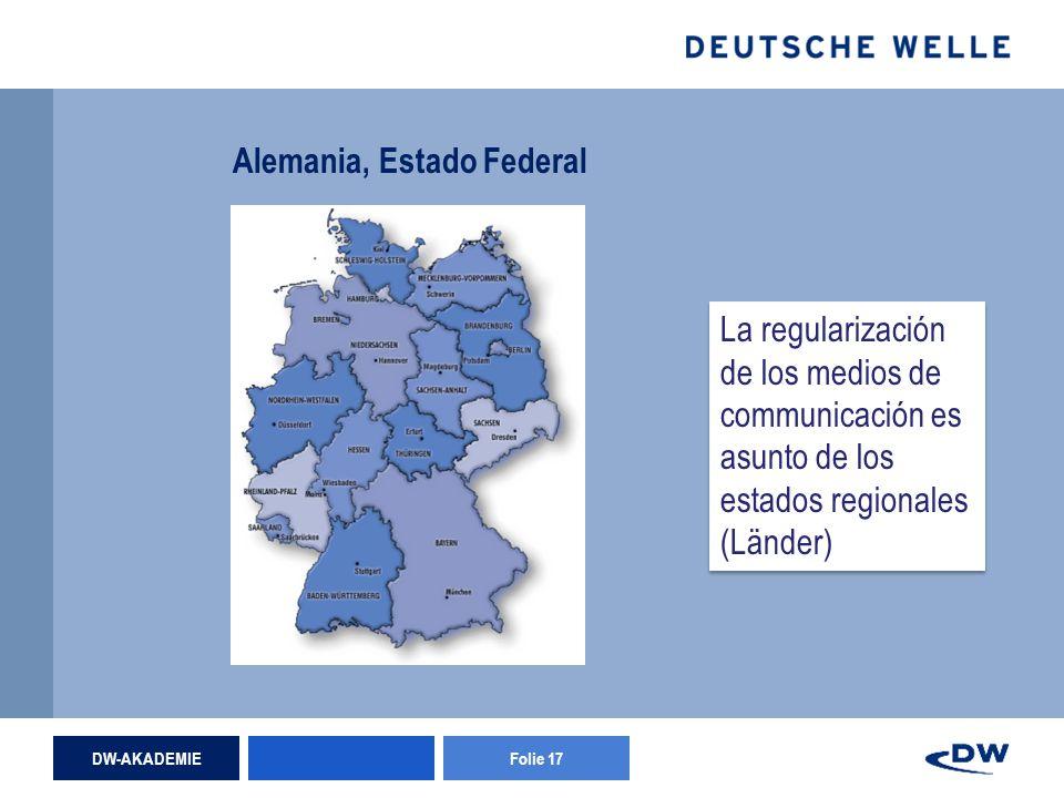 DW-AKADEMIEFolie 17 Alemania, Estado Federal La regularización de los medios de communicación es asunto de los estados regionales (Länder)
