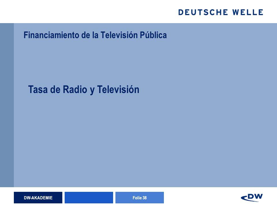 DW-AKADEMIEFolie 38 Financiamiento de la Televisión Pública Tasa de Radio y Televisión
