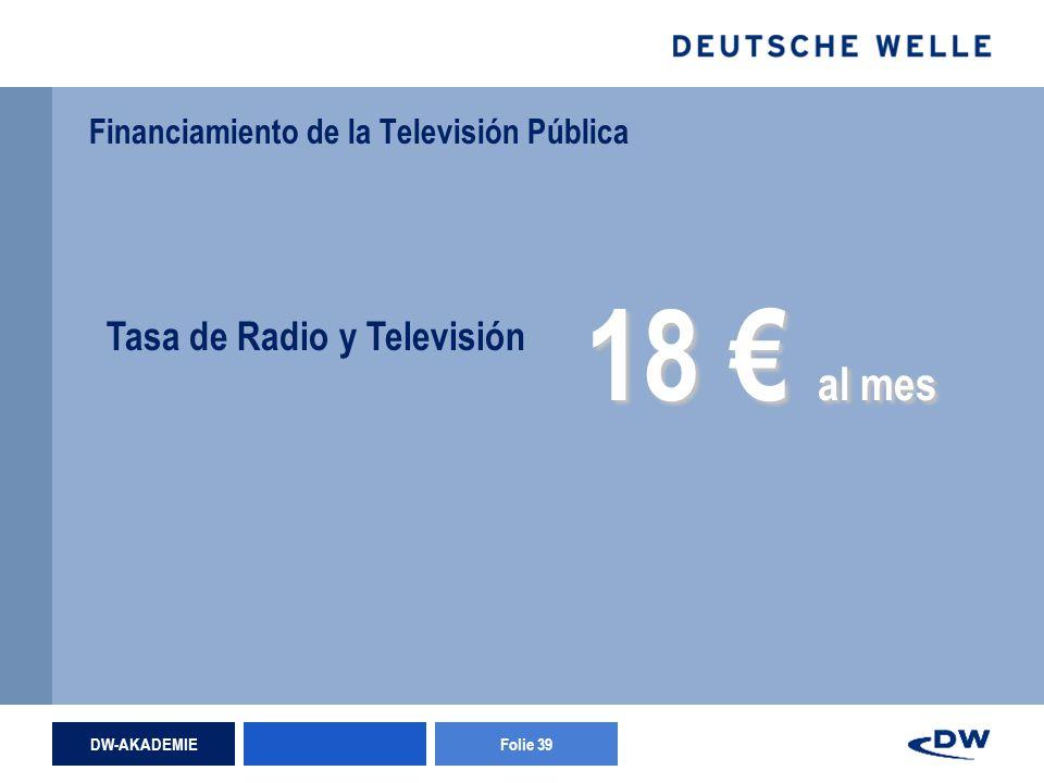 DW-AKADEMIEFolie 39 Financiamiento de la Televisión Pública Tasa de Radio y Televisión 18 al mes