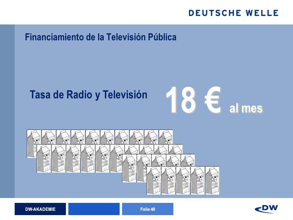 DW-AKADEMIEFolie 40 Financiamiento de la Televisión Pública Tasa de Radio y Televisión 18 al mes