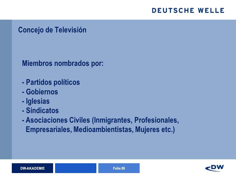 DW-AKADEMIEFolie 55 Concejo de Televisión Miembros nombrados por: - Partidos políticos - Gobiernos - Iglesias - Sindicatos - Asociaciones Civiles (Inmigrantes, Profesionales, Empresariales, Medioambientistas, Mujeres etc.)