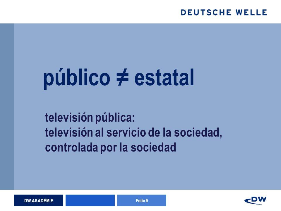 DW-AKADEMIEFolie 9 público estatal televisión pública: televisión al servicio de la sociedad, controlada por la sociedad