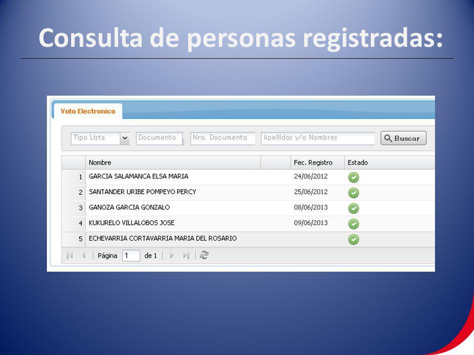 Consulta de personas registradas :