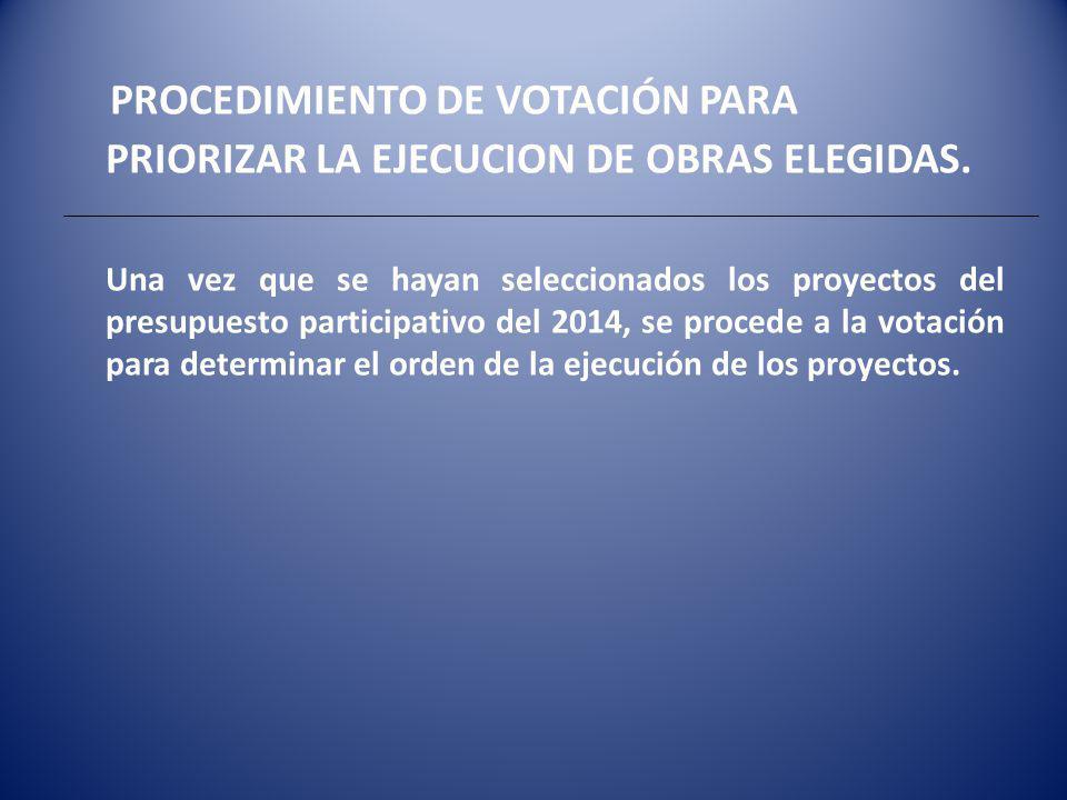 PROCEDIMIENTO DE VOTACIÓN PARA PRIORIZAR LA EJECUCION DE OBRAS ELEGIDAS.