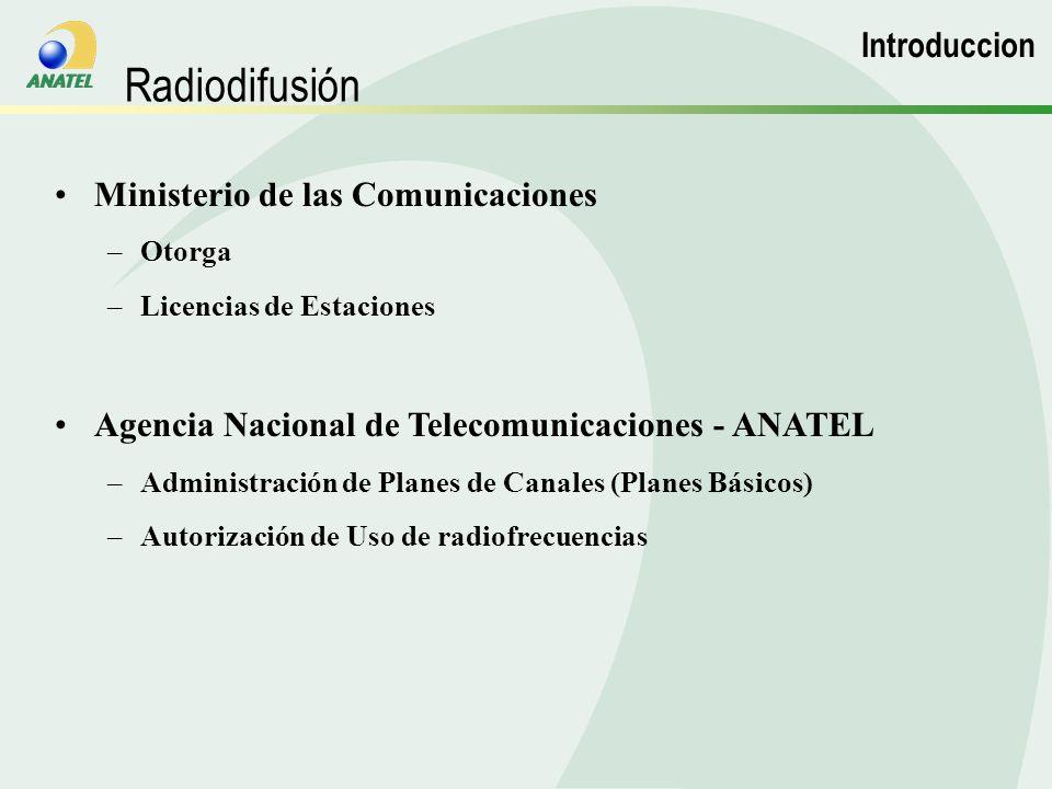 Ministerio de las Comunicaciones –Otorga –Licencias de Estaciones Agencia Nacional de Telecomunicaciones - ANATEL –Administración de Planes de Canales (Planes Básicos) –Autorización de Uso de radiofrecuencias Radiodifusión Introduccion