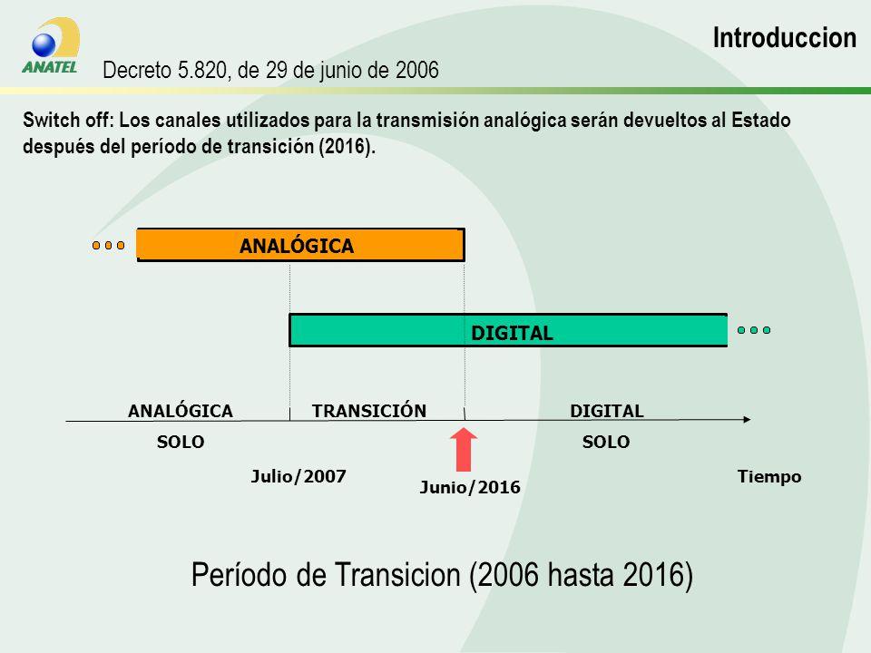 Switch off: Los canales utilizados para la transmisión analógica serán devueltos al Estado después del período de transición (2016).