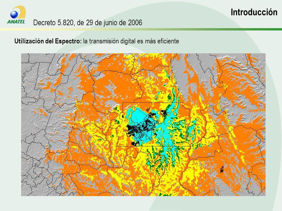 Utilización del Espectro: la transmisión digital es más eficiente Introdução Introducción Decreto 5.820, de 29 de junio de 2006