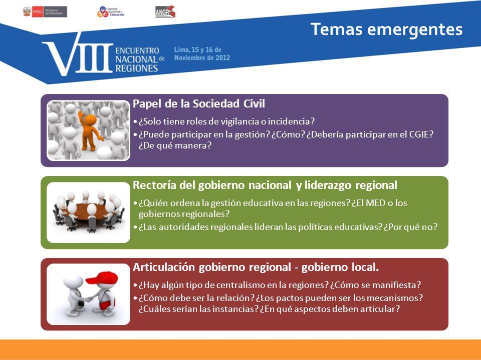 Temas emergentes Papel de la Sociedad Civil ¿Solo tiene roles de vigilancia o incidencia.