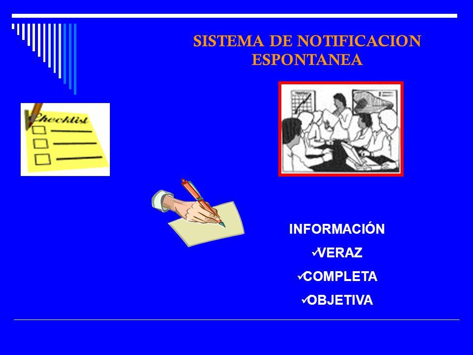INFORMACIÓN VERAZ COMPLETA OBJETIVA SISTEMA DE NOTIFICACION ESPONTANEA