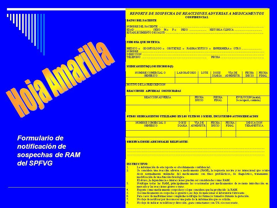 Formulario de notificación de sospechas de RAM del SPFVG