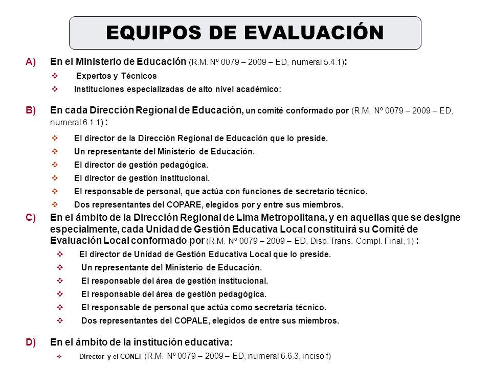 A)En el Ministerio de Educación (R.M. Nº 0079 – 2009 – ED, numeral 5.4.1) : Expertos y Técnicos Instituciones especializadas de alto nivel académico: