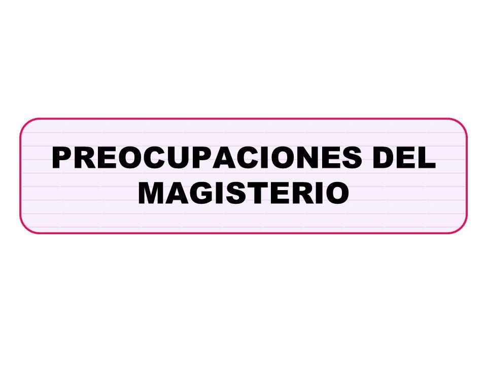 PREOCUPACIONES DEL MAGISTERIO