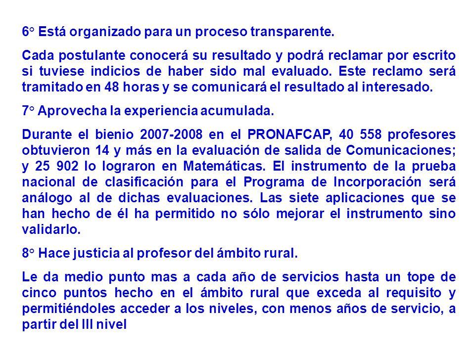 6° Está organizado para un proceso transparente.