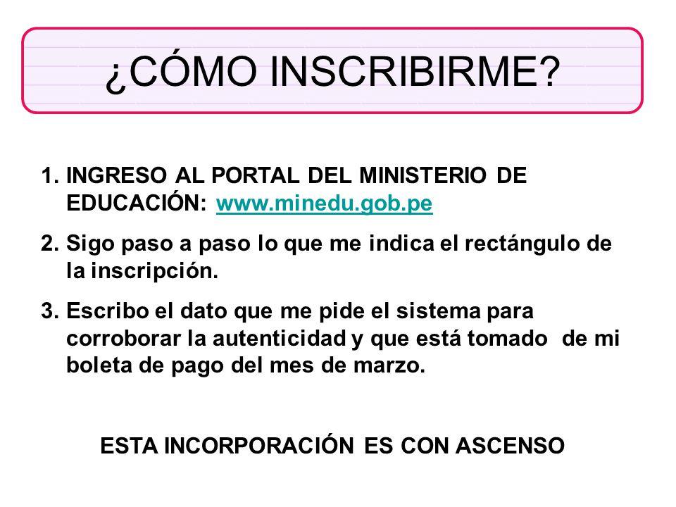 ¿CÓMO INSCRIBIRME? 1.INGRESO AL PORTAL DEL MINISTERIO DE EDUCACIÓN: www.minedu.gob.pewww.minedu.gob.pe 2.Sigo paso a paso lo que me indica el rectángu